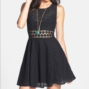 Free People black daisy lace see through dress